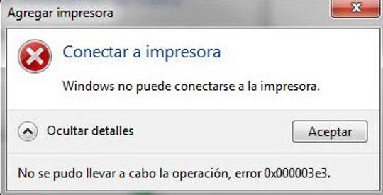 windows no puede conectarse a la impresora